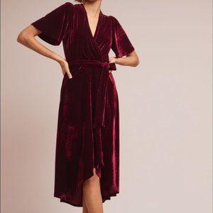 LISTICLE BURGUNDY VELVET KIMONO WRAP DRESS L